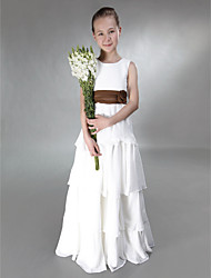 LAN TING BRIDE Floor-length Chiffon Satin Junior Bridesmaid Dress A-line Princess Jewel Empire with Bow(s) Flower(s) Sash / Ribbon