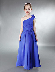 Floor-length Chiffon Junior Bridesmaid Dress - Royal Blue A-line / Princess One Shoulder