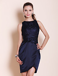 TS Couture® Cocktail Party / Wedding Party Dress - Dark Navy Plus Sizes / Petite Sheath/Column Bateau Short/Mini Satin / Lace