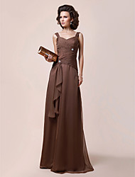 A-line Plus Sizes / Petite Mother of the Bride Dress - Brown Floor-length Sleeveless Chiffon