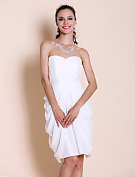 Knee-length Chiffon / Taffeta Bridesmaid Dress - White Plus Sizes / Petite Sheath/Column Strapless / Sweetheart