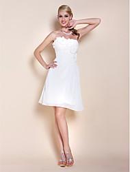 A-line principessa senza spalline senza spalline abito da cerimonia in chiffon a ginocchio conbeading fiore da ts couture®
