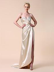 folga! elástico tecido de cetim bainha / coluna querida varrer / escova vestido de noite trem inspirada em Kate Hudson