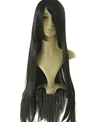 Capless Long Top Grade Quality Synthetic Black Party Wig  + Free Gift