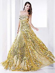 TS Couture® Formal Evening / Military Ball Dress - Gold Plus Sizes / Petite Sheath/Column Strapless Floor-length Sequined