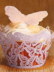 Purple Laser Cut Butterfly Cupcake Wrappers  (Set of 12)