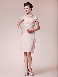 Sheath / Column Plus Size / Petite Mother of the Bride Dress Knee-length Short Sleeve Chiffon with Beading / Side Draping