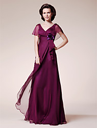 Lanting A-line Plus Sizes / Petite Mother of the Bride Dress - Grape Floor-length Short Sleeve Chiffon