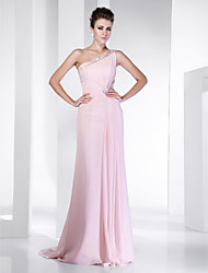Sheath/Column One Shoulder Sweep/Brush Train Chiffon Evening/Prom Dress inspired by Hilary Swank