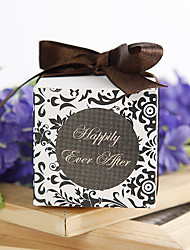 """""""Happily Ever After"""" Favor Box With Chocolate Ribbon (Set of 12)"""