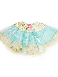 Yellow Trimming Flowered Ribbon Tulle Girl Skirt With Lining