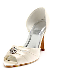 Top Quality Satin Upper High Heel Peep-toes With Rhinestone Wedding Bridal Shoes
