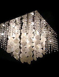 Modern Crystal Semi Flush Mount with 5 Lights in Square