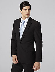 Custom Made Single Breasted One-button Notch Lapel Center-vented Black Pinstripe Suit Jacket