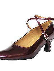 Non Customizable Women's Dance Shoes Modern/Ballroom Leatherette Chunky Heel Black/Red