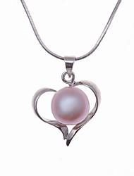 AAA Freshwater Pearl In Silver Heart Necklace (More Colors)
