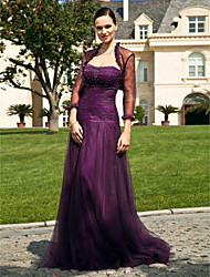 A-line Plus Sizes / Petite Mother of the Bride Dress - Grape Floor-length 3/4 Length Sleeve Tulle