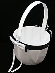 Simple Black & White Flower Girl Basket In Satin