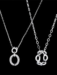 Fashion Cubic Zirconia With Alloy Plated Couple His-and-hers Necklaces