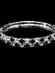 Two Layers Black And Clear Ladies' Rhinestone Wedding Tennis In Silver Alloy