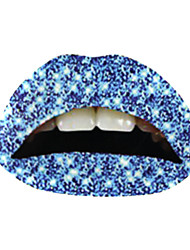 5 Pcs Glittering Blue Temporaty Lip Tattoo Sticker