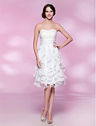 A-Line Princess Strapless Sweetheart Knee Length Chiffon Wedding Party Dress with Beading by TS Couture®