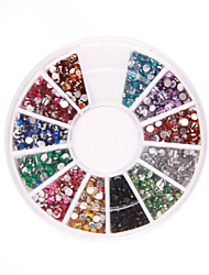 1200 Nail Art Rhinestone Glitter Tip Mix Gem Wheel