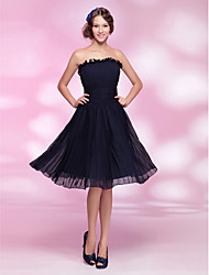 Cocktail Party Dress - Dark Navy Plus Sizes / Petite A-line / Princess Strapless Knee-length Chiffon