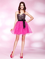 TS Couture Cocktail Party Homecoming Prom Dress - Open Back Short A-line Princess Strapless Sweetheart Short / MiniTulle Stretch Satin
