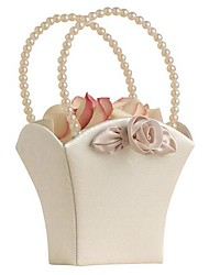 Elegance in Ivory Flower Girl Basket