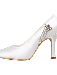 Satin Upper Stiletto Heel Pumps With Rhinestone Wedding Shoes More Colors