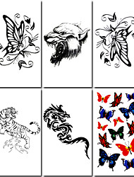 6 Pcs Butterfly and Dragon Mixed Temporary Tattoo