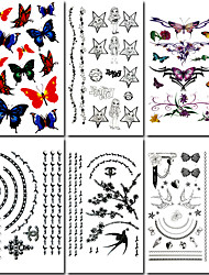 6 Pcs Jewelry and Butterfly Mixed Temporary Tattoo