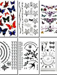 6 pcs e jóias tatuagem de borboleta mista temporária