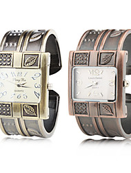 Mulheres Bracele Relógio Quartzo Banda Bracelete Marrom Bronze
