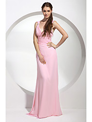 Military Ball/Formal Evening/Wedding Party Dress - Blushing Pink Plus Sizes Sheath/Column Straps/V-neck Floor-length Chiffon