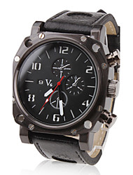 V6® Men's Military Style Black Case PU Band Quartz Wrist Watch Cool Watch Unique Watch