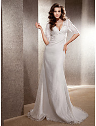 LAN TING BRIDE Trumpet / Mermaid Wedding Dress - Classic & Timeless Elegant & Luxurious See-Through Sweep / Brush Train V-neck Lace with