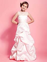 Floor-length Satin / Lace Junior Bridesmaid Dress - Pearl Pink A-line / Princess Scoop