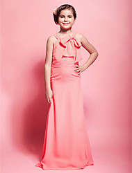 Floor-length Chiffon Junior Bridesmaid Dress - Watermelon Sheath/Column Scoop