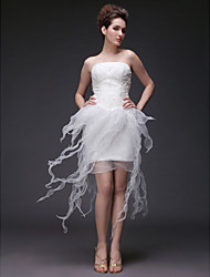 Sheath / Column Strapless Asymmetrical Organza Satin Wedding Dress with Beading Appliques Ruffle by LAN TING BRIDE®
