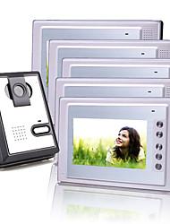 Five 7 Inch Color TFT LCD Video Door Phone Intercom System (1 Plastic Camera)