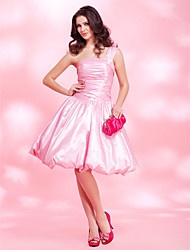 A-line One Shoulder Knee-length Taffeta Cocktail/Prom Dress