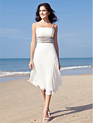 LAN TING BRIDE Sheath / Column Wedding Dress - Reception Little White Dress Tea-length Spaghetti Straps Chiffon with Sequin
