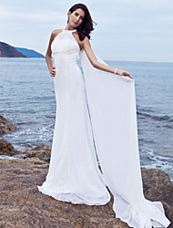 Lanting Sheath/Column Plus Sizes Wedding Dress - White Sweep/Brush Train Halter Chiffon