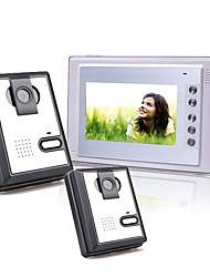7 pouces couleur TFT LCD vidéo porte téléphone système d'interphone (2 caméras en plastique)