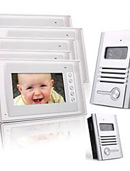 Five 7 Inch Color TFT LCD Video Door Phone Intercom System (2 Alloy Cameras)