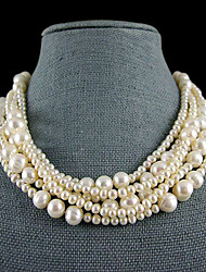 6 Strand White Freshwater Pearl Necklace – 18-19 Inch