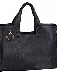 Black Leather Square Handle Bag