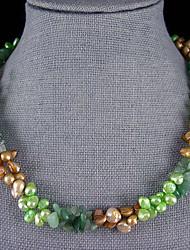 6-7mm et 7-9mm véritable perle d'eau douce de jade necklacewith - 20 pouces